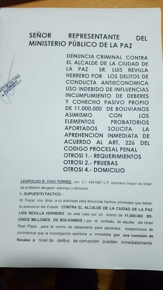 Alcalde Revilla es denunciado en la fiscalia por conducta antieconómica por alquiler del ex Radisson