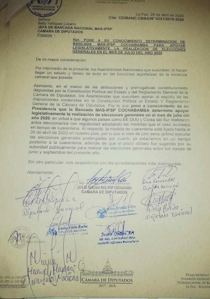 La Bancada del Mas apoyara que las elecciones se realice el mes de julio
