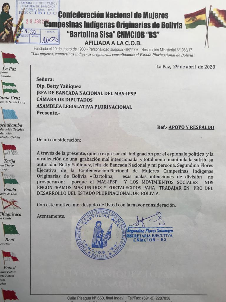 La Ejecutiva de las Bartolinas Segundina Flores expreso su indignación por grabación que pretendia dividir al MAS