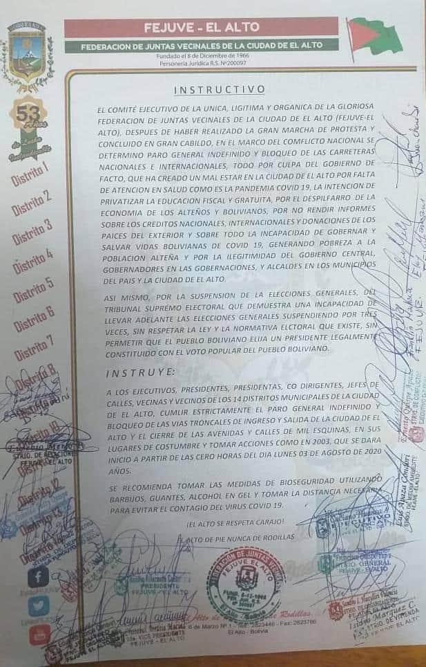 La Fejuve de El Alto instruye bloqueo de las mil esquinas desde lunes 3 de agosto