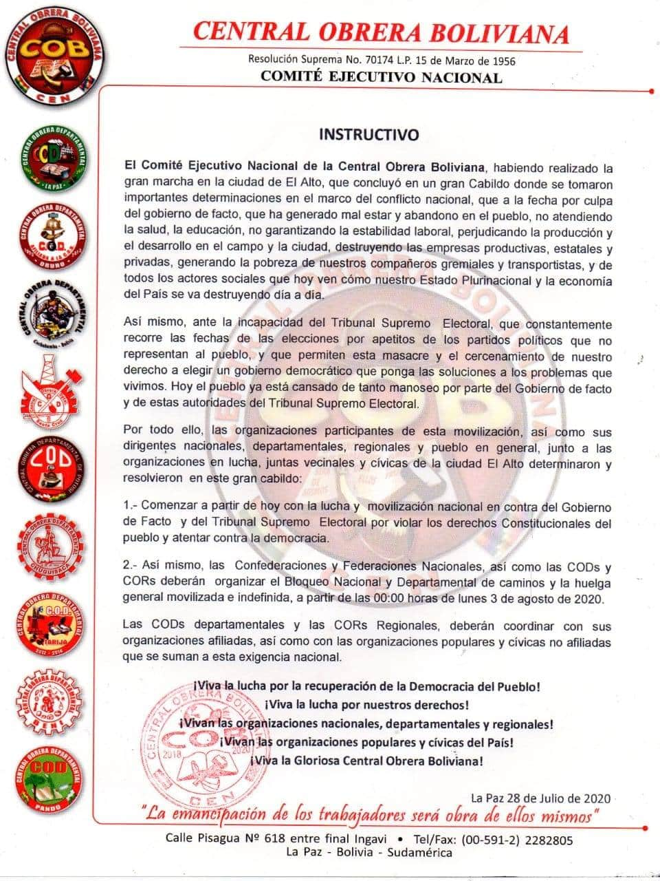 Urgente: La COB instruye inició de huelga general y bloqueo de caminos desde las 00:00 del lunes 3 de agosto