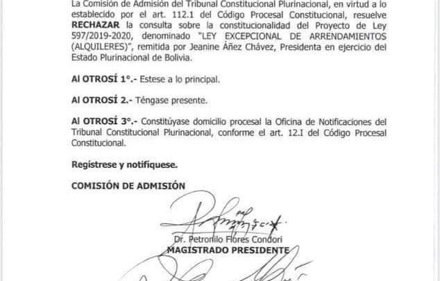 Photo of El Tribunal Constitucional rechazó la consulta sobre la ley de alquileres y plasma presentada por Jeanine Añez