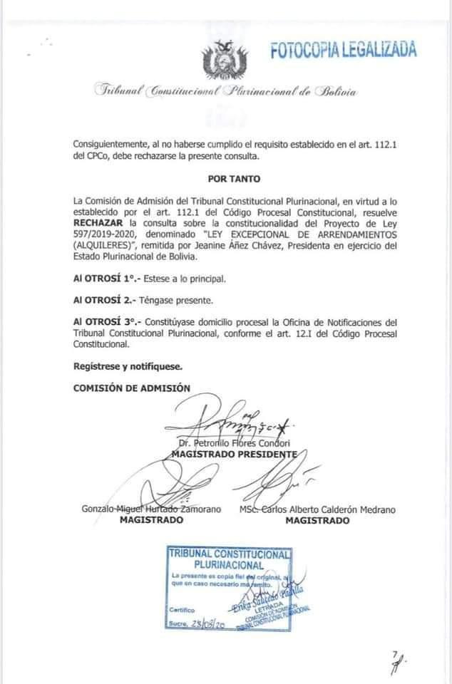 El Tribunal Constitucional rechazó la consulta sobre la ley de alquileres y plasma presentada por Jeanine Añez
