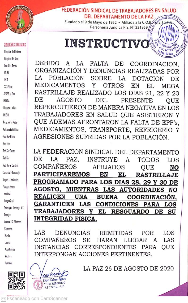 Trabajadores en Salud no participaron de megarrastrillaje de la Alcaldia de La Paz  porque es un engaño