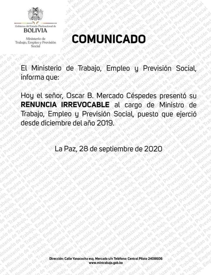 Empezó la retirada y desbande en el Gobierno Transitorio de Jeanine Añez colaboradores renuncian a sus cargos
