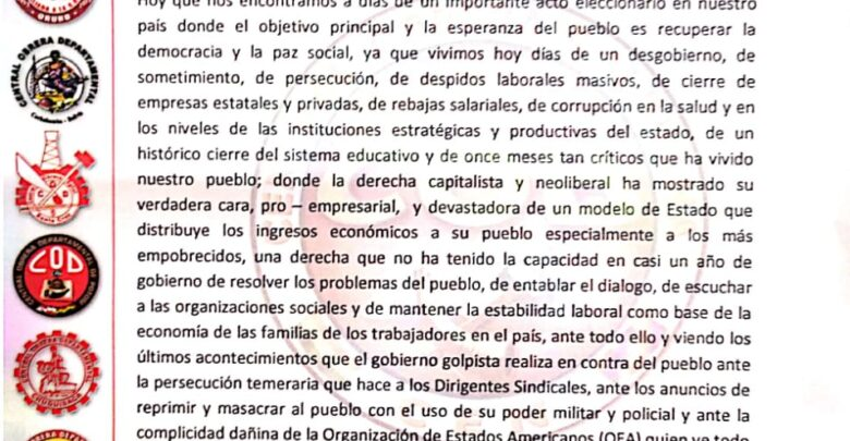 Photo of La COB manda un mensaje a los trabajadores y al pueblo boliviano no dejarse llevar por las presiones psicológicas del gobierno que pretenden generar convulsión en el día de las elecciones