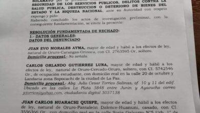 Photo of Ante insuficientes pruebas la fiscalia rechazó demanda interpuesta contra Evo Morales los dirigentes Juan Carlos Huarachi , Segundina Flores y otros