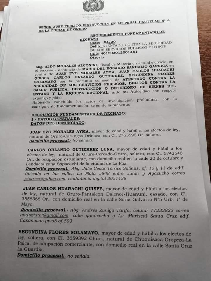 Ante insuficientes pruebas la fiscalia rechazó demanda interpuesta contra Evo Morales los dirigentes Juan Carlos Huarachi , Segundina Flores y otros