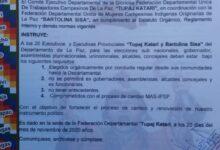 Photo of La Federación Tupac Katari de La Paz eligira a candidatos  para las Subnacionales de manera orgánica y que no hayan sido Autoridades