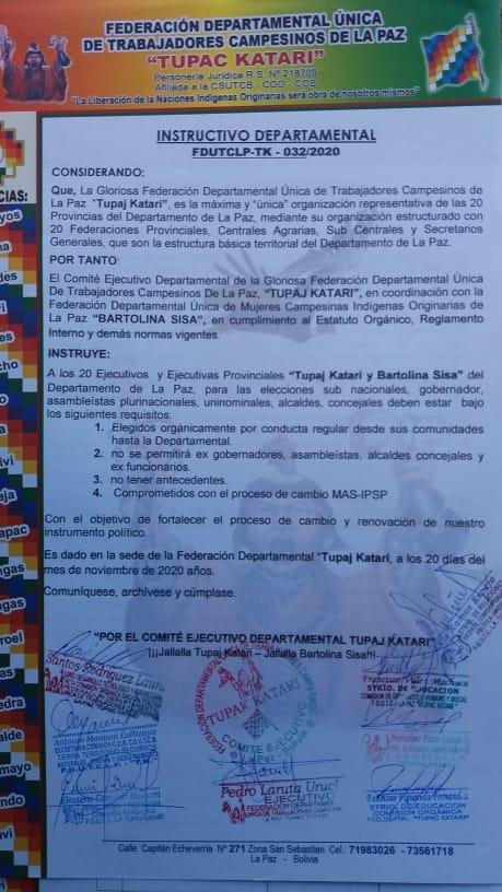 La Federación Tupac Katari de La Paz eligira a candidatos  para las Subnacionales de manera orgánica y que no hayan sido Autoridades