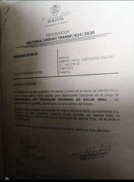 Involucrado en la quema del Tribunal Departamental Electoral de Santa Cruz es designado como responsable del programa Salud Oral dependiente del Ministerio
