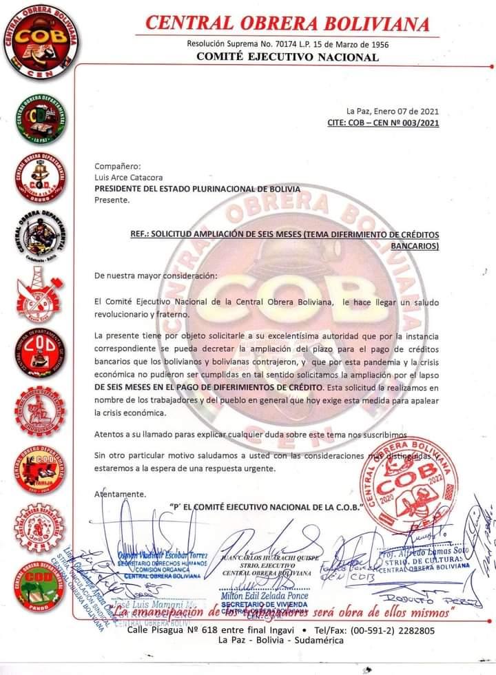 La COB oficializó pedido al Gobierno de ampliar por seis meses el diferimiento de créditos