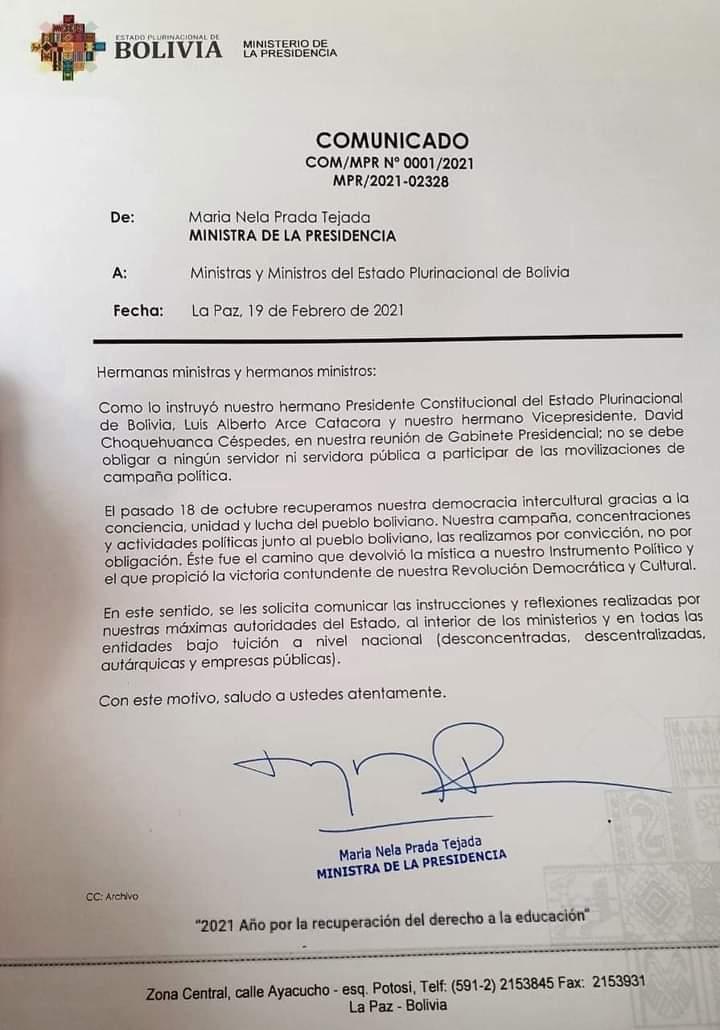 La Ministra Prada instruye a que no se obligue a funcionarios a participar en campañas electorales deben hacerlo por convicción
