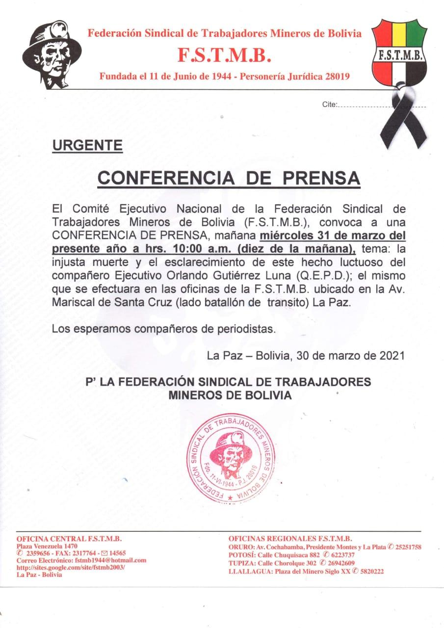 La Federación Sindical de Mineros Asalariados de Bolivia se pronunciará contra el cierre en la investigación del caso Orlando Gutierrez