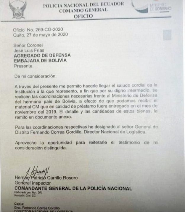 El ministro de Gobierno informó que comenzó una investigación sobre un caso de dotación de municiones que el gobierno ecuatoriano de Lenín Moreno hizo al régimen de Jeanine Áñez.