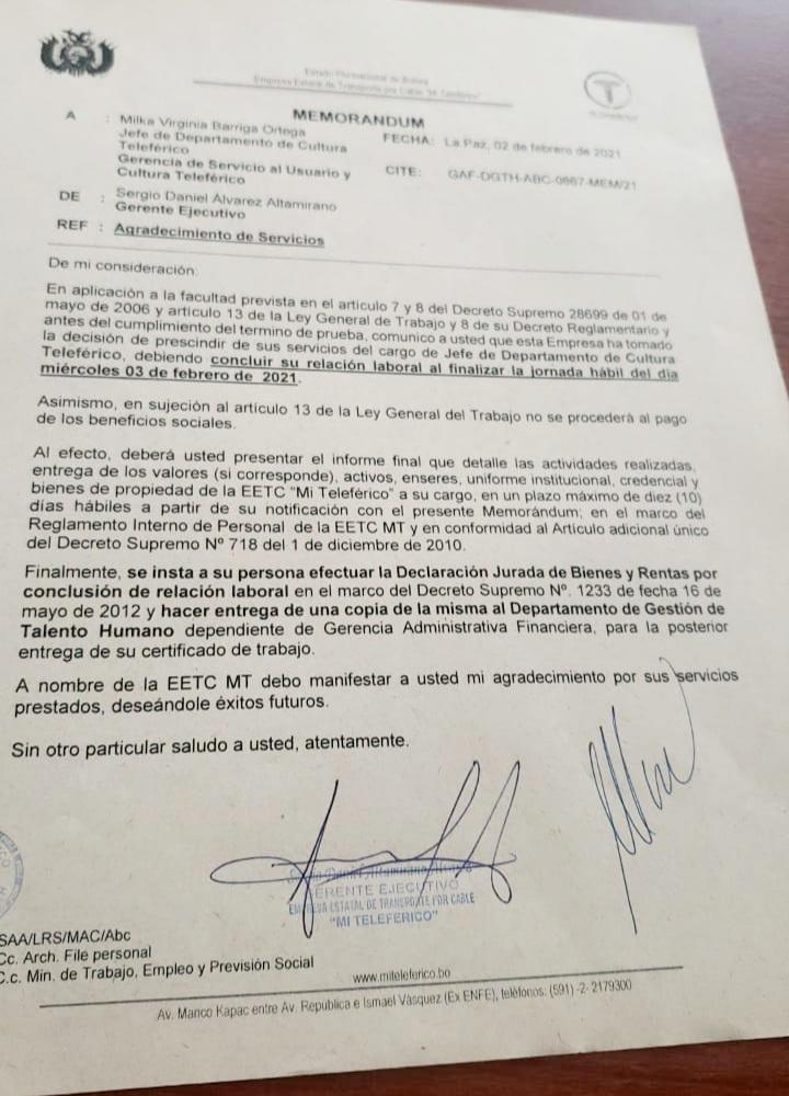 Funcionaria que fue destituida del teleférico por sus vínculos con Carlos Mesa es designada como jefe de comunicación de ENTEL