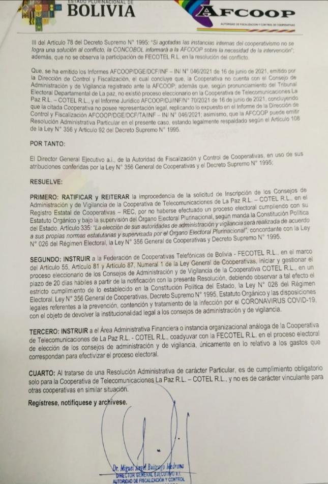 La Autoridad de Fiscalizacion y Control de Cooperativas instruye la realización de elecciones en COTEL en un plazo de 20 días