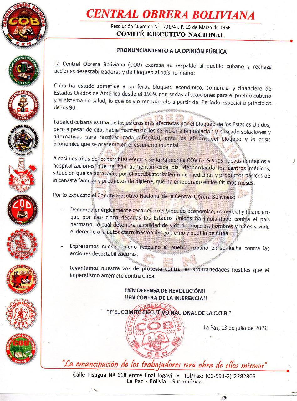 La COB condenó bloqueo económico de EEUU al hermano país de Cuba.