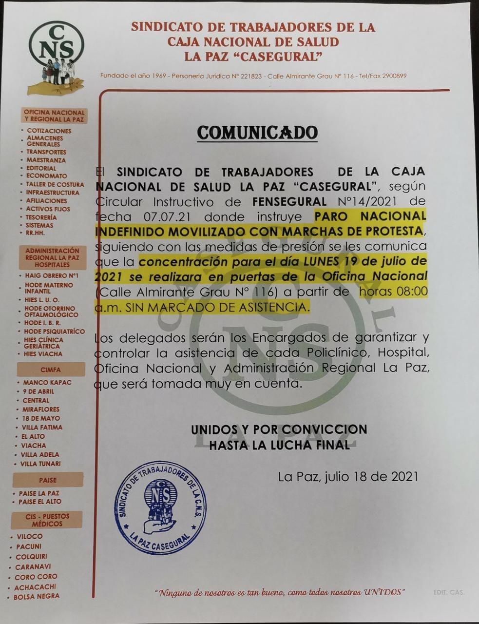 Trabajadores de la Caja Nacional de Salud y enfermos de cáncer radicalizaran paro e indefinido contra Silvia  Gallegos
