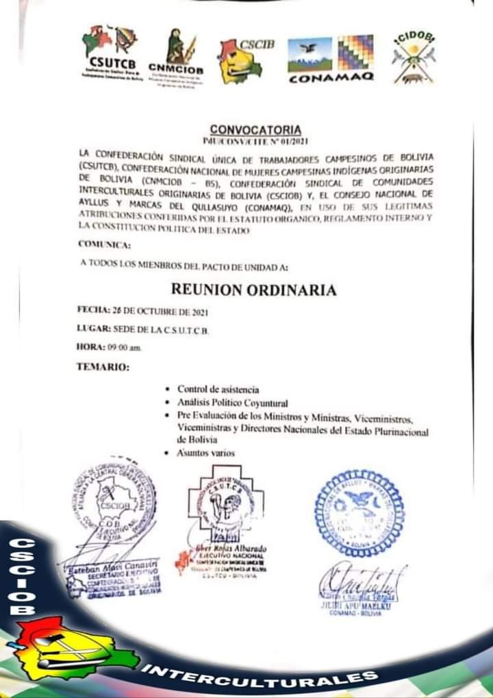 Al cumplirse un año del Gobierno de Arce Catacora , organizaciones sociales evaluarán a los Ministros y Viceministros